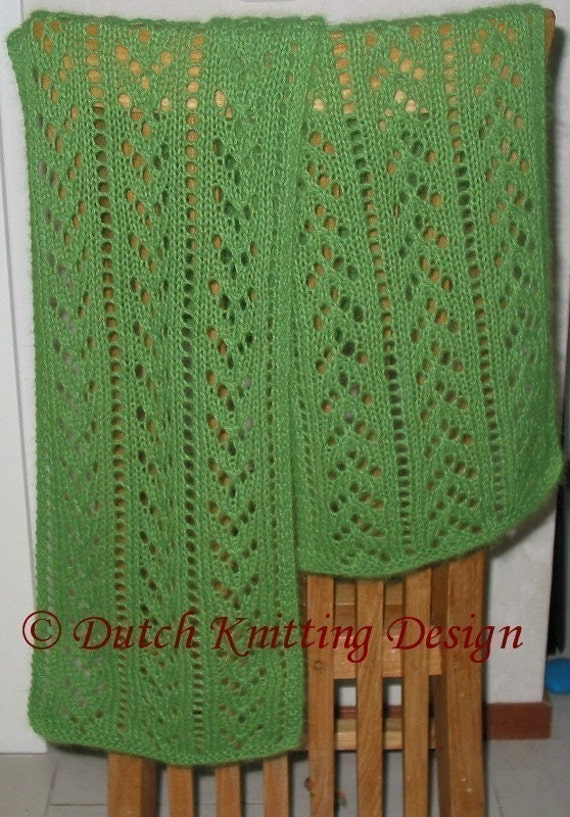 lace scarf knitting pattern green knitted scarf pattern | Etsy