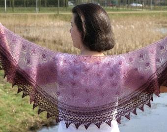 Lace shawl knitting pattern, flower lace knit scarf pattern, crescent knitted shawlette pattern, lace yarn knitting pattern, Candria