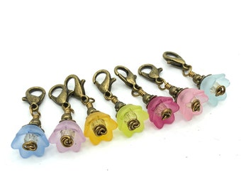 Flower stitch markers set for knitting or crochet, beaded snag free progress keepers, knit accessories and notions, gifts for knitters