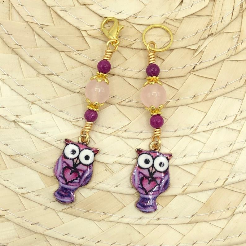 Pink owl stitch marker for knitting crochet snagless progress image 0