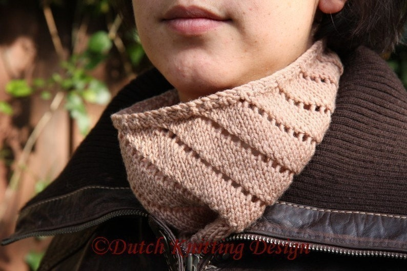 PDF knitting pattern cowl lace neckwarmer scarf Spiral Cowl image 0