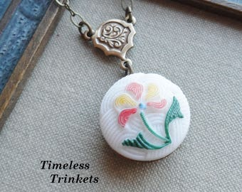 Vintage Glass Button Necklace, Hand Painted, Pressed Glass, White with Yellow and Red Flower, Antique Brass