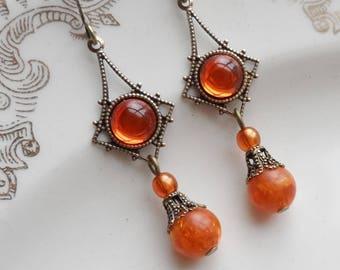 75% Off Clearance Sale, Vintage Glass Earrings, Japan, Boho, Burnt Orange, Tangerine, Salvaged Vintage Beads
