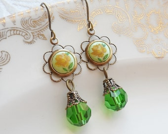 75% Off Clearance Sale, Yellow Rose, Vintage Japanese Cameo, Spring Green Czech Glass Bead, Antique Brass Ox