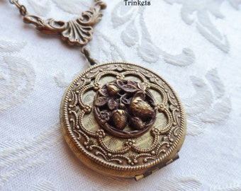 Strawberry Garden, Antique Button, Locket Necklace, Czech Glass Beads, Wine, Aubergine, Antique Brass, Timeless Trinkets,One of A Kind