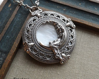 Unusual 35mm Lead Free Pewter Lady Riding The Moon Charm Pendant Necklace