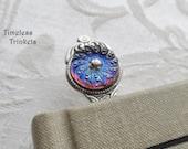 Bookmark. Vintage Czech Glass Cameo, Ornate Design, Royal Blue with Pink Undertones, Floral Design, Antique Silver Ox