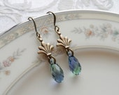 Clearance, Earrings with Swarovski Teardrop, Antique Brass Ox, Blue with Green and Hints of Lavender, Sparkle, Light Weight, Faceted