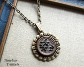 1 2 Price Sale-Antique Button Necklace- Marquise