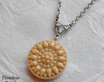 Vintage Glass Button Necklace, Golden Honey