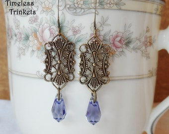 Swarovski Crystal Earrings, Purple, Antique Brass Filigree Design, Timeless Trinkets