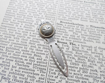 Bookmark, Antique Button, Botanical Theme, Silver Ox, Gray, Etched Pewter Button