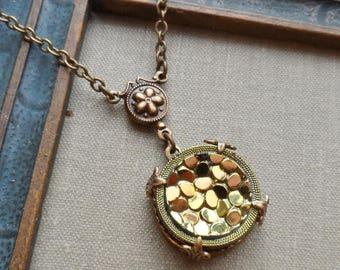 Golden Pebbles, Vintage Glass Button Necklace
