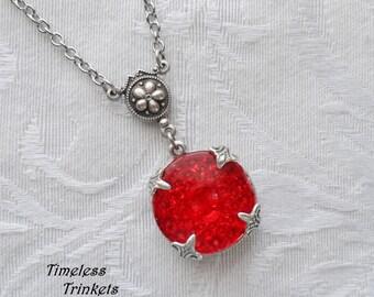 Cherry Fizz, Vintage Glass Button Necklace
