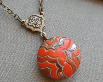 Art Deco, Vintage Glass Button Necklace, Orange