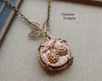 Necklace made with Antique Button(c.1880-1910), Victorian Button, Raspberry Design, Light Pink Wash, Antique Brass Ox, Timeless Trinkets