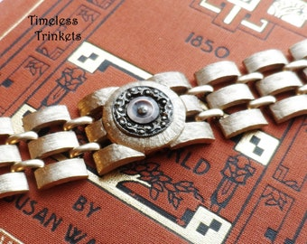 Vintage Watch Case Bracelet with Antique Button(c.1880-1910), Mother of Pearl Button with Steel Cut Center, Ornate Design, OOAK