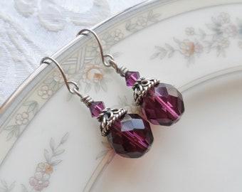 50% Off- Czech Glass Bead Earrings, Hill Tribe Silver, Swarovski Crystal, Purple