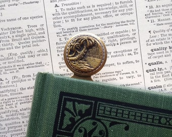 Bookmark, Antique Picture Button, Palm Trees, River with Boat, Buildings, Brass Ox