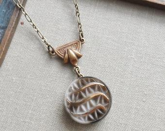Smokey Eye, Vintage Glass Button Necklace