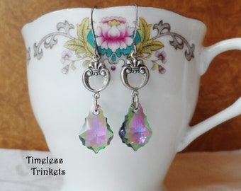 Swarovski Crystal Earrings, Antique Silver Ox, Baroque, Purple, Pink and Green with Golden Highlights, Timeless Trinkets