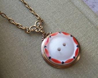 Cute As A Button, Vintage Glass Button Necklace
