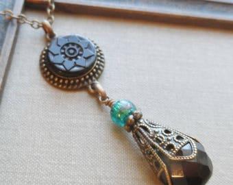 Botanical, Antique Glass Button Necklace