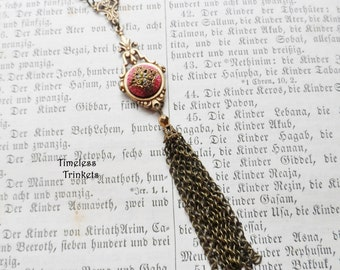 Tassel Necklace made with Antique Button(c.1880-1915), Cold Painted Enamel, Lots of Color, Geometric Design, Brass, OOAK, Timeless Trinkets