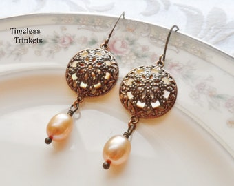 Earrings made with Antique Mother of Pearl Buttons(x.1900-1920), Ivory, Off-White, Embellished with Antique Brass Filigree, Brass Lace