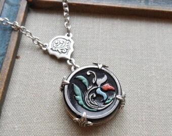 Tulip, Vintage Glass Button Necklace