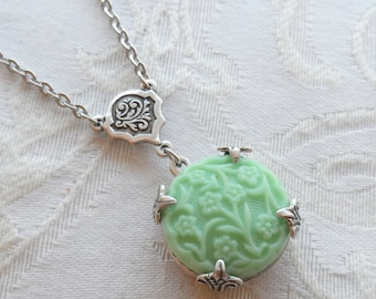 Wallpaper Flowers, Necklace made with Vintage Green Glass Button made in West Germany