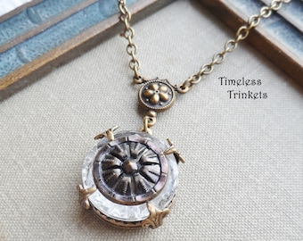 Necklace, Antique Button(c.1880-1920), Mirror Back Button, Purple Tint, Flower Design, Daisy, Depression Glass, Brass, Timeless Trinkets