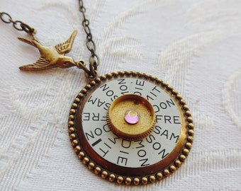 1/2 Price Clearance Sale-, The Days of the Week In German, Steampunk Necklace
