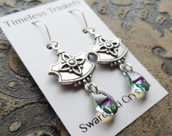 Swarovski Crystal Earrings, Sterling Silver Earwires, Antique Silver Ox Medallion, Unique, Iridescent Green, Purple, Timeless Trinkets