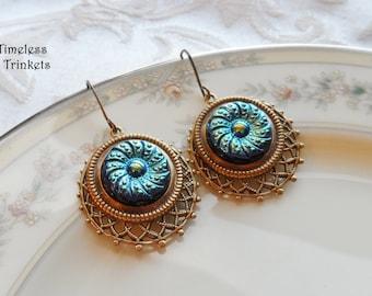 Czech Art Glass Button Earrings, Made from Vintage Molds, Blue-Green Iridescent, Button Jewelry, Timeless Trinkets