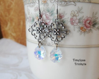 Swarovski Crystal Teardrop, Iridescent Coating, Reflects a Rainbow of Colors, Antique Silver Filigree Design, Timeless Trinkets