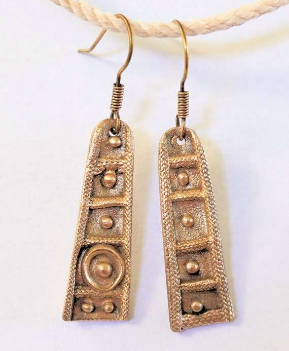 Tiny Branch Dangle Earrings Cast in Yellow Bronze Gold Fill Ear Wires Lightly Oxidized to Reveal Surface Texture /& Dimension