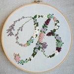 Hand Embroidered Cursive Letter. Vintage Embroidered Letter. Cursive Embroidered Letter