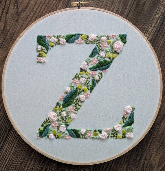 Hand Embroidered Letter Monogram Letter Floral Letter Hoop Etsy