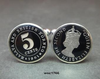 Malaya  or  British Borneo enamelled coin cufflinks one cent 20mm x 20mm 1939 1943 1945 1956 1958 British
