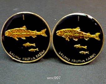 Slovenia coin cufflinks 3 trouts  21mm.