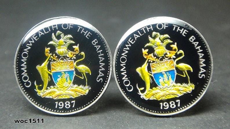 Bahamas Island coin cufflinks 5 cents black blue 21mm 1966 1969 1970 1971 1973 1974 1975 1981 1984 1987 1998 2000 2004 2005