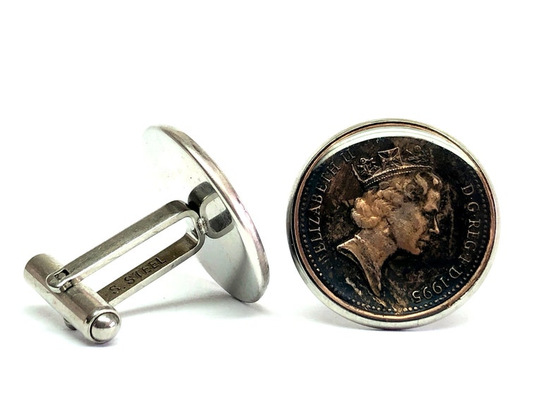 UK British coin cufflinks One New Penny 20mm  1998 1999 2000 2001 2002 2003 2004 2005 2006 2007 2008 2009 2010 2011 2012 2013 2014 2015