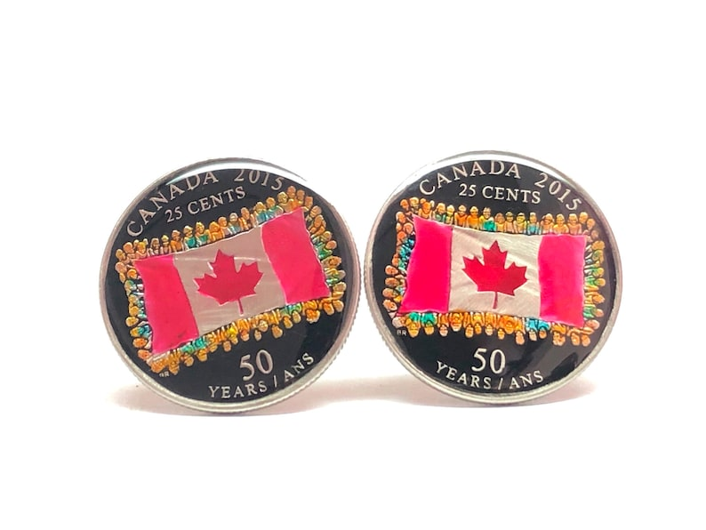 25 cents 50th Anniversary of the Canadian Flag,24mm. 2015 Canada coin cufflinks