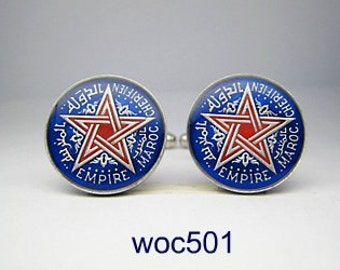 Morocco coin cufflinks one Flanc 18mm
