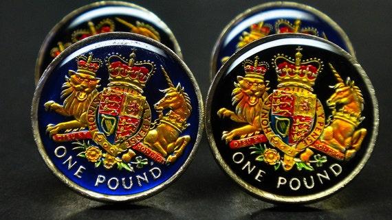 UK Great British coin cufflinks pound Welsh Dragon 23mm