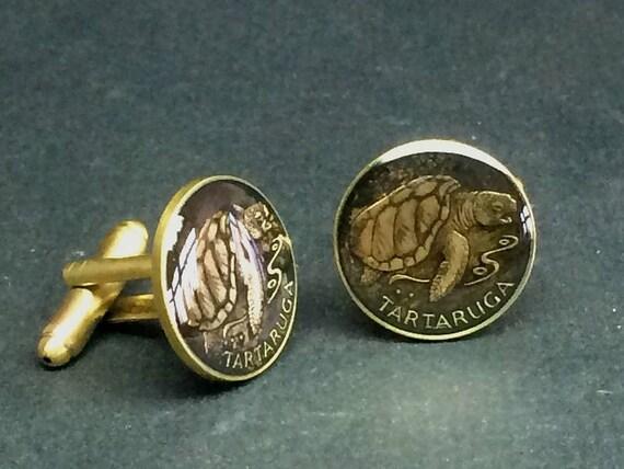 Rhinoceros Mozambique enamelled coin cufflinks Rhino 15mm