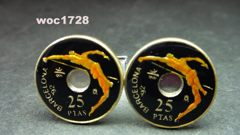 Spain enameled coin cufflinks 25 pesetas 19mm 1991