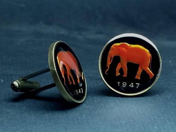 Belgisch Kongo Münze Manschettenknöpfe Franken Elefant Selten Etsy