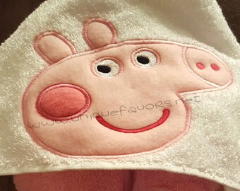 Peppa Pig inspired hooded towel with optional Personalization